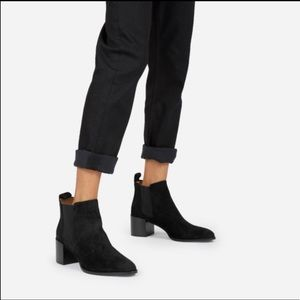 Everlane the Boss Boot black suede ankle boots